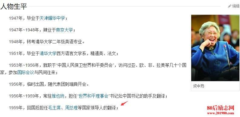 资中筠谈自己简历:关于我个人履历一些说明